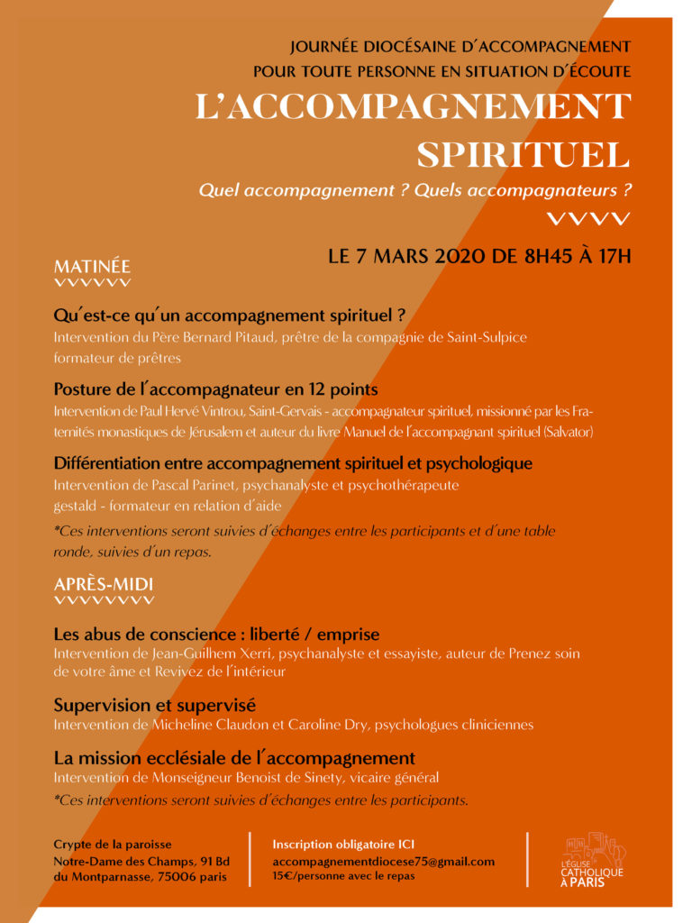 "Session de formation ""accompagnement spirituel"" Mars 2020"